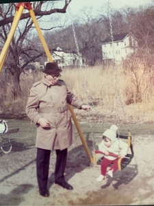 My grandfather and I in the park having quality time.
